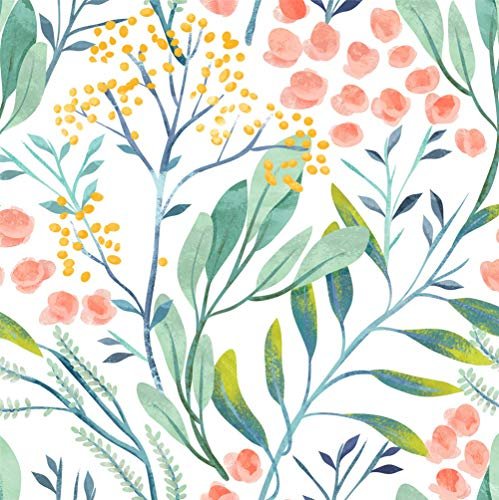 HaokHome 93029 Watercolor Forest Floral Peel and Stick Wallpaper Removable White/Green/Pink Vinyl Self Adhesive Shelf Liner 17.7in x 9.8ft