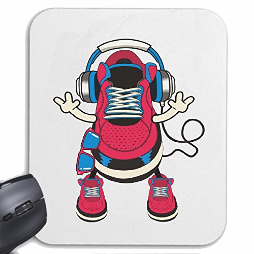 Reifen-Markt Mousepad (Mauspad) TURNSCHUH MIT KOPFHÖRER Techno Jazz Funky Soul Trance Festival House Hiphop HIP HOP DJ für ihren Laptop, Notebook oder Internet PC (mit Windows Linux usw.) in Weiß