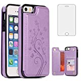Phone Case for iPhone SE (2016 Edition), iPhone 5S/5 with Tempered Glass Screen Protector and Card Holder Wallet Cover Flip Leather Cell Accessories 5SE i 6SE iPhone5 iPhone5s Cases Women Girls Purple