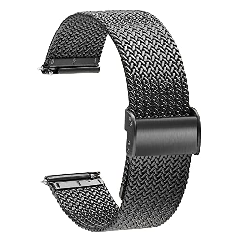 TStrap Montre Bracelet Maille Milanaise - Bracelets de Montre Remplacement à Dégagement Rapide pour Hommes Femmes - Bracelet de Montre Intelligente Acier Inoxydable Métal Noir - 16mm 18mm 20mm 22mm