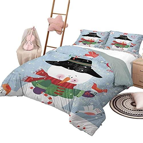 3-teilige Bettwäsche-Sets Schneeflocke Tagesdecke Bettdecke für alle Jahreszeiten Neujahr & Weihnachtszeit Ornamental Doodle Symmetrische Motive des Winters in voller Größe Blau Weiß