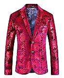 MOGU Mens Slim Fit Casual Blazer Hot Pink Suit Jacket US Size 40 (Label Size 56/3XL)