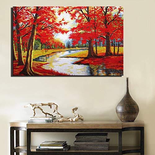 YuanMinglu Roter moderner Abstrakter Baum auf Leinwand gemalt Ahorn Wohnzimmerwand mit Wohnkultur Leinwand Rahmenlose Malerei50x75cm