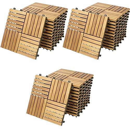 Deuba - Dalles de jardin en bois d'acacia huilé 30 x 30 cm • 33 dalles soit 3m² • clipsable - Terrasse balcon jardin piscine