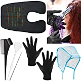 6 Pieces Hair Dyeing Cap Tools Set, Includes Hair Highlighting Cap with Dyeing Hook, Hair Dyeing Board, Hair Coloring Brush, Hair Dyeing Gloves and Waterproof Hair Cutting Cape for Home Salon Styling