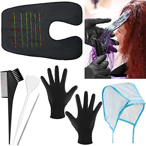 6 Stück Haar Färben Kappe Werkzeug Set, Enthält Haar Hervorhebungen Kappe mit Färberei Haken, Haarfärbung Board, Haarfärbung Bürste, Haarfärbung Handschuhe und Wasserdicht Haar Schneiden Kappe