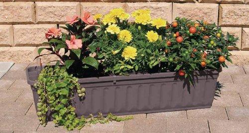 Alpfa Blumenkasten 80 cm anthrazit mit Wasserspeicher Made IN Germany