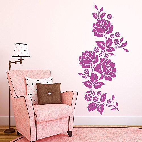 """Wandtattoo-Loft """"Rosen Blumenranke"""" Dekoblumen / 54 Farben / 3 Größen/weiß / 35 x 76 cm"""