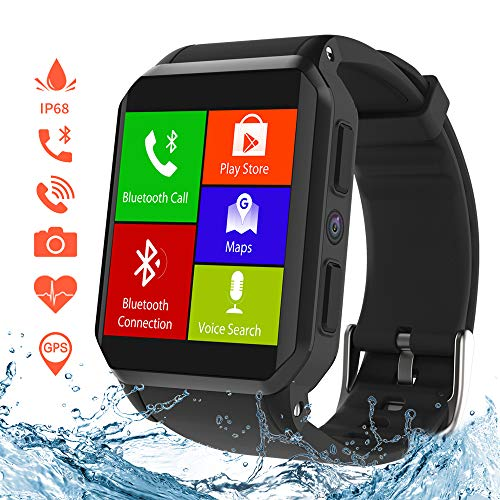 KOSPET Smart Watch, Wi-Fi GPS Fitness Watches with Camera/SIM Card Slot, IP68 Waterproof, Android 5.1 OS, 3G Phone Call Smartwatch with Heart Rate Monitor, Compatible with iOS Android for Men Women