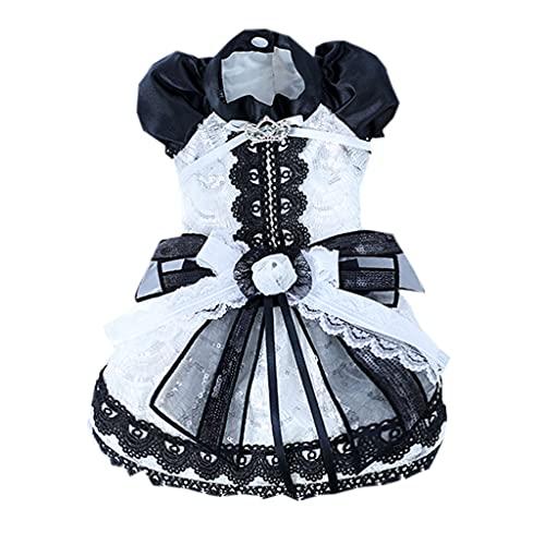 FEGOCLT Vestido para Perros, Falda de Princesa para Perros, Vestido de Boda para Perros, Ropa con Bordado de Encaje para Cachorros o Mascotas pequeñas (Size : Small)