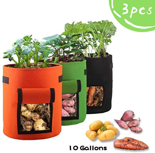 FIF 3PCS Garden Planting Bag, 10 Gallon Potato Growing, Non Woven Planting Bags, Potato/Potato/Carrot/Tomato Planting Bags (3 Pack)