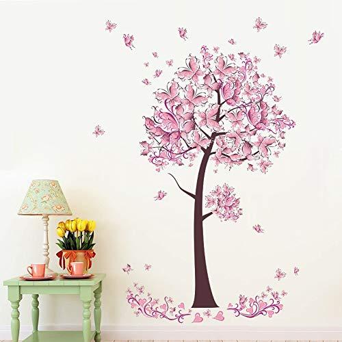 Decoración de la pared del dormitorio de la sala de estar de la muchacha con la etiqueta engomada de la pared del árbol de la mariposa rosada PVC extraíble etiqueta del arte del hogar