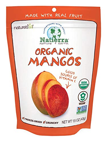 Natierra Nature's All Foods Organic Freeze-Dried Mangoes   Non-GMO & Vegan   1.5 Ounce (Pack of 12)