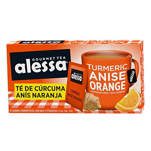 Alessa Gourmet Tea Té de Cúrcuma Anís Naranja - 10 Sobres, 20 Gramos