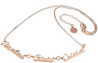 Collana con 3 nomi in argento 925 anallergico Made in Italy.