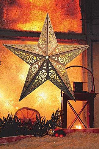 LED Stern aus Holz | mit 10 LED´s beleuchtet | kabellos | inkl. Fernbedienung | 40 cm oder 52 cm | verschiedene Muster | Fensterstern | Holzstern | Weihnachtsdekoration | Adventsstern (40cm Ornamentoptik)