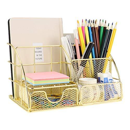 MORIGEM Schreibtisch Organizer, Büro Organizer in gold mit Briefablage, Stifthalter, Unterlagen Organizer und Schublade, aus Metall für Büro, Schule und Haushalt