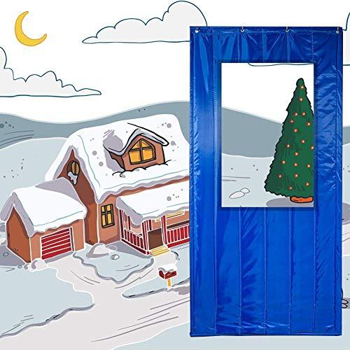 ZXL Deurgordijn, warmte-isolerend, met deur voor ramen, winter, winddicht, beschermt tegen kou, reduceert lawaai (kleur: oranje, grootte: 110 cm x 230 cm)