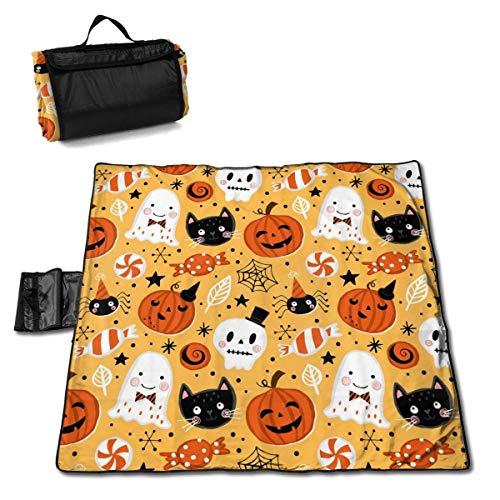 ClownFish Estera de Picnic For Kids 57 * 59 In with Respaldo Impermeable para Camping de Picnic al Aire Libre,Pumpkin, Ghost, Cat and Skull