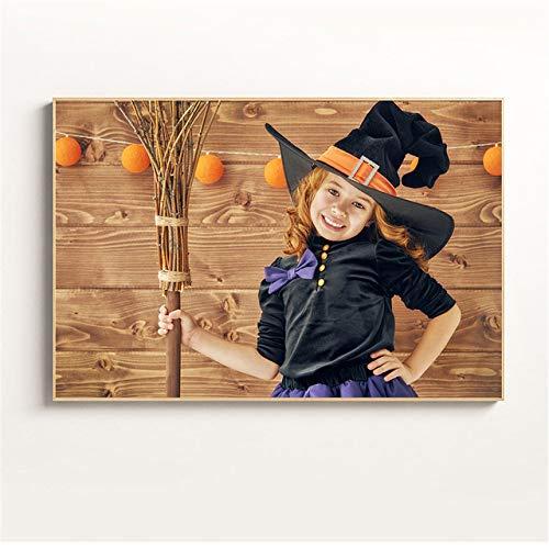 NIMCG Cute Girl Poster decoración de Halloween Calabaza fantasía niños decoración de la habitación Pintura de Pared (sin Marco) A5 60x80CM