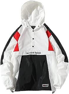 Sunward Men's Sport Jacket Autumn Winter Loose Hooded Patchwork Outdoor Coat Tops