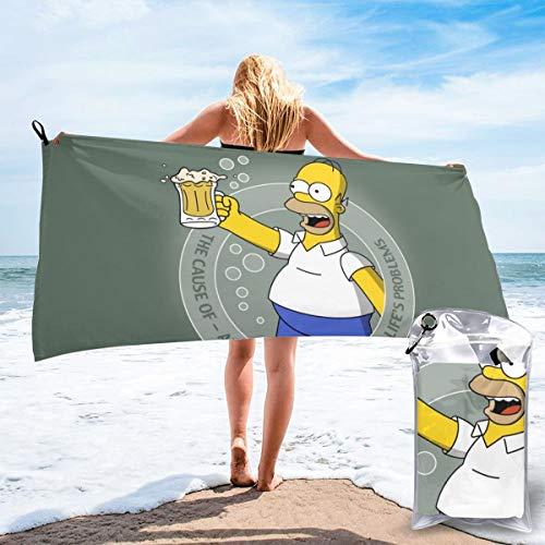 JJKKFG-H Simpson Homer Cartoon-Handtuch, schnelltrocknend, Mikrofaser, leicht, für weiche Badetücher für Pool, Schwimmen, Reisen, Strand, Stuhl, Fitnessstudio, Sport, 80 cm x 63 cm