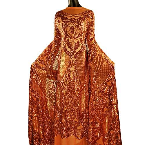 NJHG Spitzenstoff, wunderschöner Stickstoff, verziert mit glänzenden Pailletten/Spangles für Hochzeit/Partykleid, 4,5 m 5 Yards Muster 3-orange