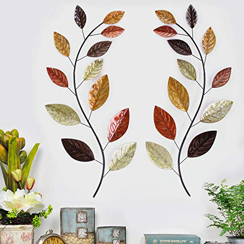 Asense Tree Leaf Metal Wall Art Sculptures Home Decor Life Decoration Set of 2