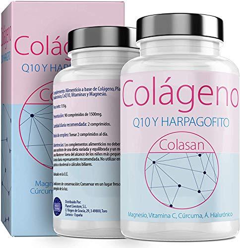 Kollagen mit Magnesium | Vitamin C | Hyaluronsäure + Q10 | Kurkuma | Hárpago | Vitamin D3 | 100% natürliche Ergänzung für strahlende Haut und gute Unterstützung für Knochen und Gelenke. 90 Tabl