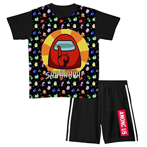 Big Boys' 2-Piece Shorts Set Outfit, Youth Among Us Impostors Short Sleeve T-Shirt and Shorts Jogging Suit Medium