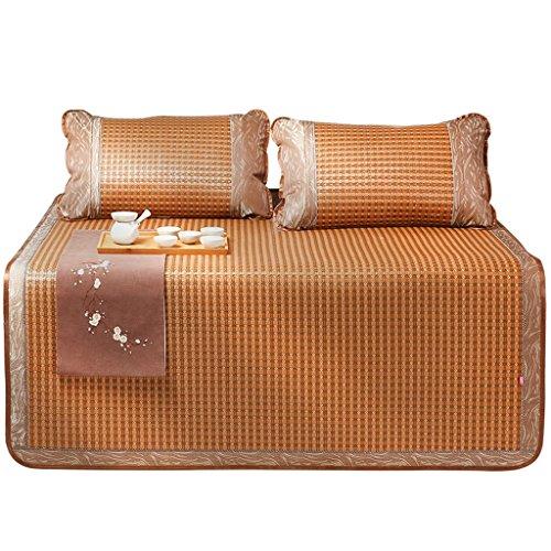 Liuyu · Tapis de lit double pliable 1,8 m Sièges de rotin d'été Trois pièces 1,2 1,5 M Mousseline de soie d'été Sous-tapis d'air doux pour la peau et confortable (avec deux taies d'oreiller en rotin)