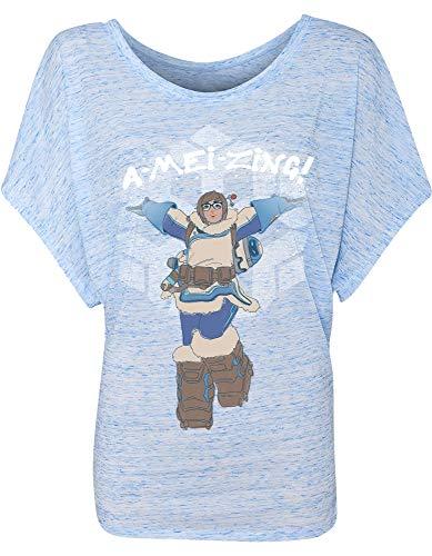 JINX Womens Overwatch A-Mei-ZING! Blue Marble Dolman Cut Shirt Large