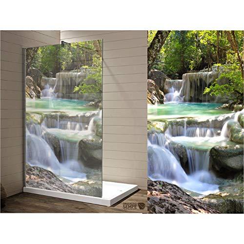 Interfoil Klebefolie im Druck für Duschglastüren, Sichtschutz Duschabtrennung, hochwertiger Druck auf Glasdekor -Folie in Sandstrahl -Optik mit satinierten Oberfläche