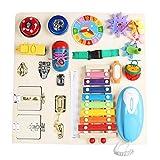 Busy Board - Juguetes Montessori para niños pequeños, juguetes sensoriales, tablero de actividades para niños pequeños, juguetes educativos de aprendizaje temprano, desbloqueo de cordones de zapatos