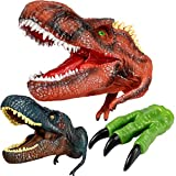 Geyiie Dinosaur Puppets Toy, Soft Rubber T.Rex Allosaurus Hand Pupepts Velociraptor Claw Toys, Dino Head Glove Toys for Kids Boys Toddler Girls, Party Favor Valentine