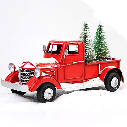 OurWarm Christmas Vintage Red Truck with 2pcs Mini Christmas Trees Ornaments, Upgraded Old Red Metal Pickup Truck Car Model for Christmas Decorations Table Top Decor