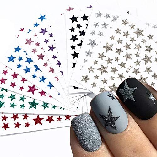 1 pçs 3d prego slider estrelas adesivos brilho brilhante decoração decalque transferência diy adesivo colorido unhas arte dicas manicura jinc132