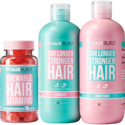 HAIRBURST Shampoo, Conditioner & Chewable Vitamin Bundle All Natural Hair Growth For Longer, Stronger Hair