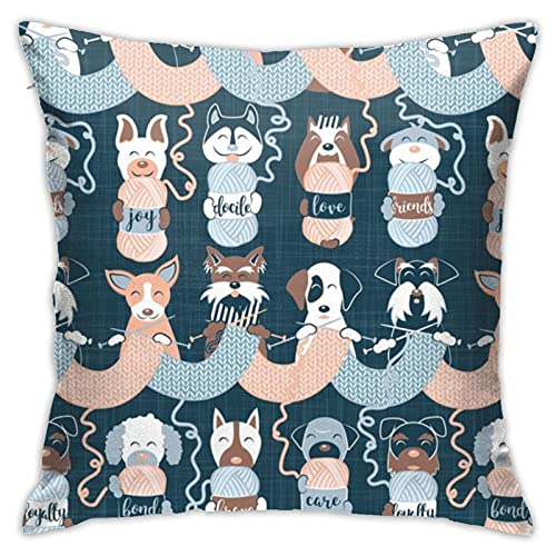 87569dwdsdwd Knitting Dog Feelings II Normal Scaleselmacardoso Throw Pillow Cover Pillow Cases For Home Decor Design Cushion Case For Sofa Bedroom Car 18 X 18 Inch 45 X 45 Cm