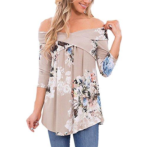 Binggong Damen Bluse, Frauen Schulterfrei Blumendruck Langarm Blusen Lose Oberteil Pullover Shirt Beiläufige Bluse Tops Langarmshirt (Grau, 2XL)