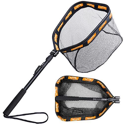 PLUSINNO Floating Fishing Net for Steelhead, Salmon, Fly, Kayak, Catfish, Bass, Trout Fishing, Rubber Coated Landing Net for Easy...