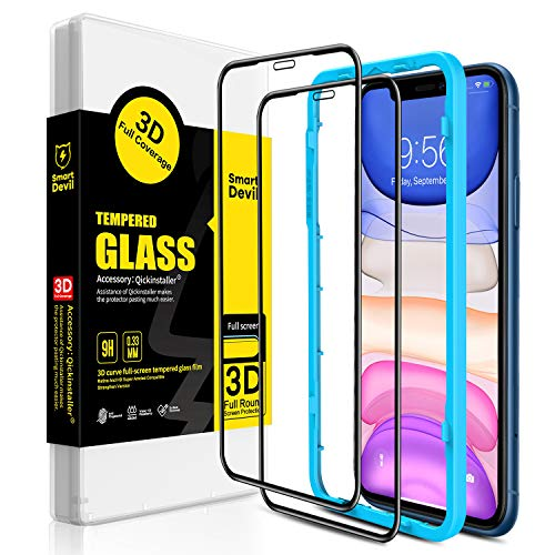 SMARTDEVIL Screen Protector for iPhone XR  2 Pack]  Easy Installation Frame]  3D Curved Edge Full Screen Protection], Premium Tempered Glass Screen Protector for iPhone XR
