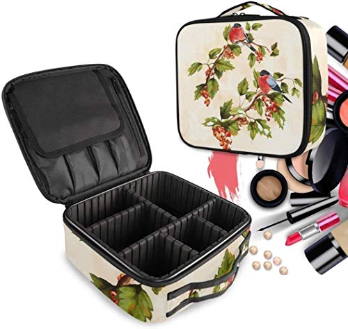 Cosmétique HZYDD Red Bird Flower Make Up Bag Trousse de Toilette Zipper Sacs de Maquillage Organisateur Poche for Compartiment Femmes Filles Gratuit