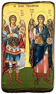 Wooden Greek Christian Orthodox Wood Icon of Archangel Michael and Gabriel / A0