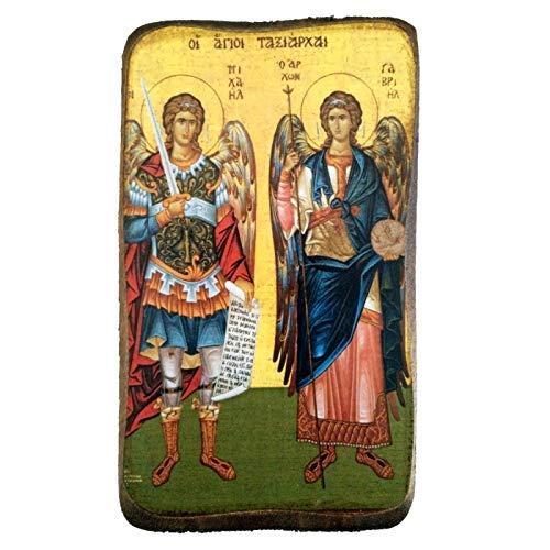 Icone en Bois Fait Main, chretienne orthodoxe Grecque, Representant des archanges Michel et Gabriel