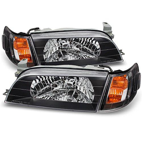 For Toyota Corolla Black JDM Version Headlights Replacement + Amber Corner Lamps 4pcs Set