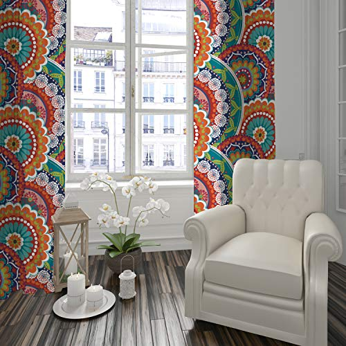 Levtex Home - Serendipity - Window Panels with Rod Pocket - Two Curtains 84 inch Length - Mandalas - Orange, Turquoise, Green, Red, Citron, Yellow, Blue - 100% Cotton - Lined
