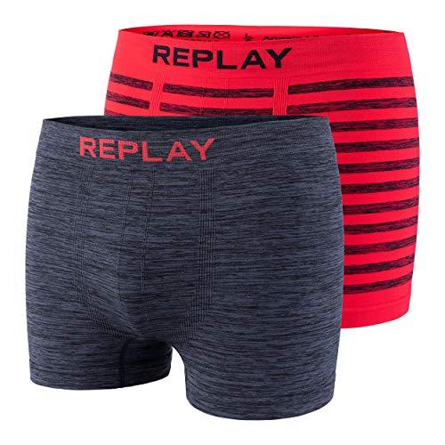 2er Set Boxershorts Herren Replay Unterhose eng anliegend I101012 (Red/Black, XL)