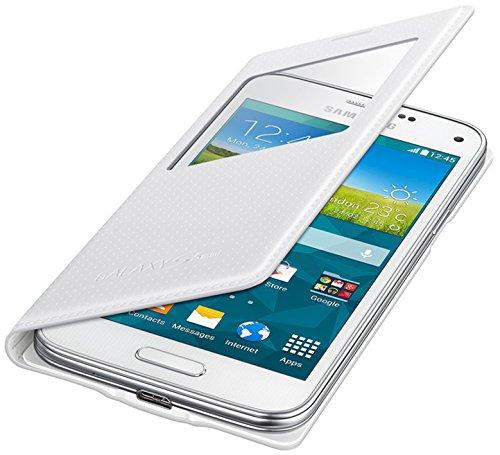 Samsung S-View Hülle Case Cover für Samsung Galaxy S5 Mini Punching Pattern - Glänzend Weiß