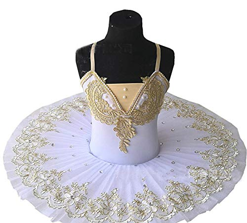 ZYLL Disfraz de tut de Ballet del Lago de los cisnes, Vestido de Bailarina para nias, Vestido de Ballet para nios, Ropa de Baile, Disfraces de Fiesta, Blanco,150CM